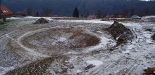 stavba koupacího jezírka Sázava - zimní technologická přestávka